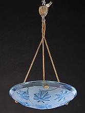 FRENCH BLUE GLASS HANGING DOME C.1930