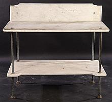 TWO TIER BRONZE MARBLE POTTING TABLE 1900