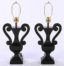 PAIR CARVED WOOD URN FORM TABLE LAMPS