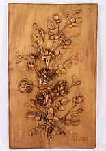 SYCAMORE RELIEF CARVED FRENCH PLAQUE SIGNED 1910