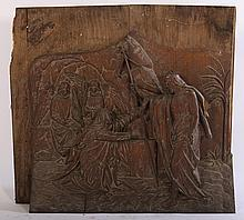 LATE 19TH CENT. CARVED OAK RELIGIOUS PANEL ANGELS