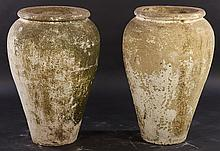 PAIR FRENCH CAST STONE GARDEN VESSELS OIL JARS