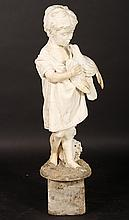 19TH CENTURY CARVED MARBLE SCULPTURE YOUNG CHILD