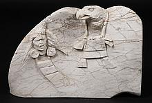 CARVED STONE PLAQUE NATIVE AMERICAN EAGLE