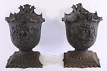 PR 19TH CENT. LABELED GARDEN CAST IRON URNS