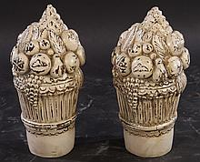 PAIR CARVED PAINTED WOOD BASKETS FRUIT DECORATION