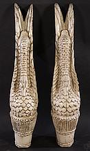 LARGE PAIR CARVED PAINTED WOOD SWAN FORM ELEMENTS