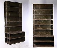 PAIR PAINTED IRON STEP BACK SHELVING UNITS 1940