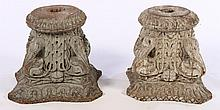 PAIR ARCHITECTURAL CARVED WOOD CAPITALS 1910