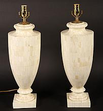 LARGE PAIR URN FORM TESSELLATED BONE TABLE LAMPS