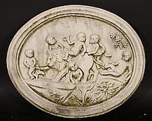 NEOCLASSICAL CARVED MARBLE PLAQUE BACCHNALIAN