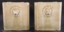 PAIR ITALIAN CARVED MARBLE FOUNTAINS LION HEAD