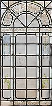 LARGE PAINTED LEADED GLASS WINDOW IRON FRAME 1930