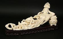 CARVED IVORY RECLINING ASIAN GODDESS C.1920
