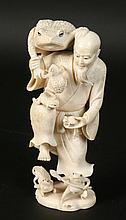 GAMA SENNIN CARVED JAPAN IVORY TOAD SAGE 1900