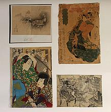 LOT OF 4 MID-LATE 19TH C. ANTIQUE JAPANESE PRINTS