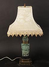 CARVED QUARTZITE OR JADE STONE LAMP CIRCA 1930