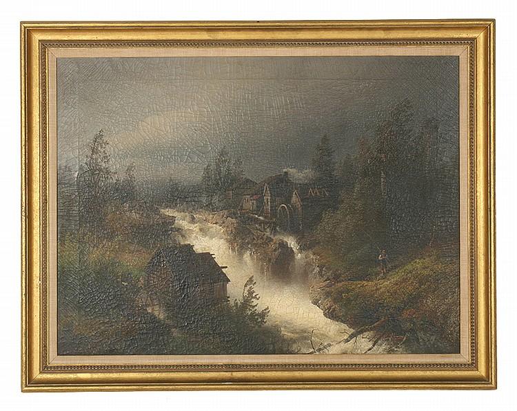 HERMANN OTTOMAR HERZOG SIGNED OIL LANDSCAPE 1882