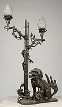 CHINESE BRONZE FOO DOG LIGHT FAUX BAMBOO STAND
