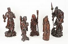 LOT OF 5 CARVED ASIAN WOOD STATUES CIRCA 1900