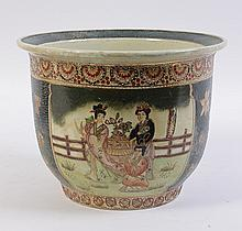 A modern Chinese cache pot decorated in moriage with fans and court ladies