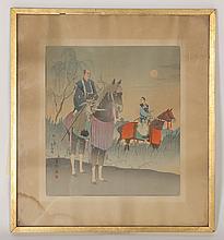 NICE JAPANESE WOODBLOCK PRINT 2 SAMURAI C.1880