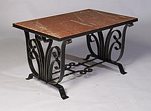 WROUGHT IRON SUBES STYLE COFFEE TABLE MARBLE TOP