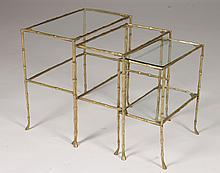 3 PC SET BRONZE FAUX BAMBOO NESTING TABLES