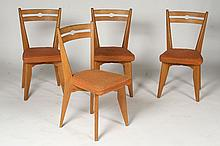 SET 4 OAK SIDE CHAIRS CHAMBORD 1950