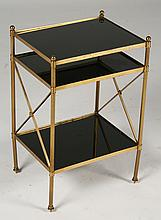 REGENCY BRASS SIDE TABLE INSET BLACK GLASS 1960