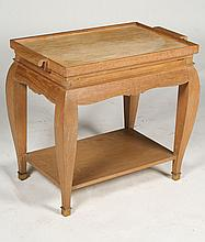 CERUSED OAK SERVING CART REMOVABLE TRAY 1950