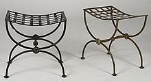 PR WROUGHT IRON BENCHES WOVEN SADDLE SEATS 1960