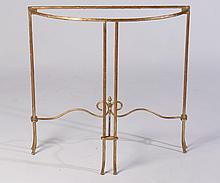 GILT IRON GLASS TOP CONSOLE TABLE FAUX BOIS