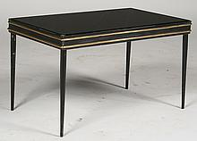 PETITE IRON BRONZE COFFEE TABLE BLACK GLASS 1940