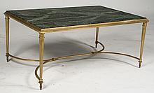 FRENCH BRONZE COFFEE TABLE MARBLE TOP C. 1950