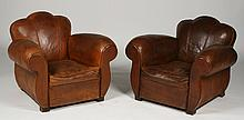 PR FRENCH LEATHER CLUB CHAIRS 1930