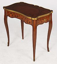 FRENCH L.15 SIDE TABLE MARQUETRY TOP BRONZE 1920