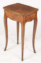 FRENCH SIDE TABLE SHAPED TOP SINGLE DRAWER 1930