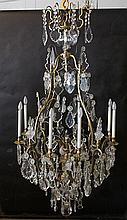 LARGE 8 ARM BRONZE CRYSTAL CAGE CHANDELIER