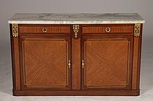 FRENCH EMPIRE STYLE SERVER MARBLE TOP PARQUETRY