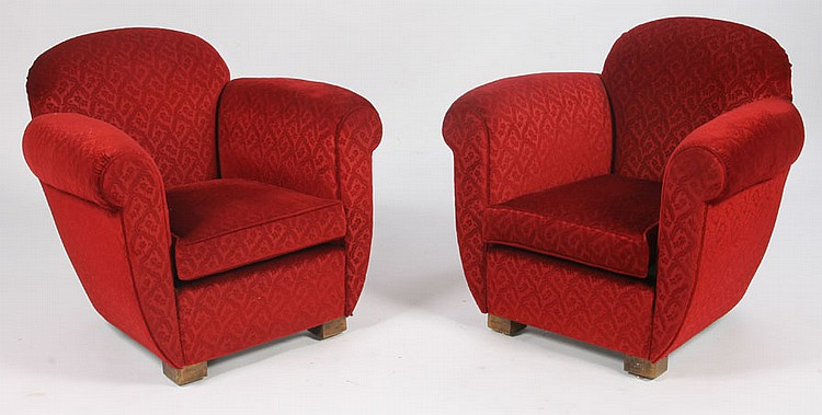 PAIR FRENCH ART DECO CLUB CHAIRS