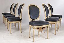 6 SET OF FRENCH UPHOLSTERED DINING CHAIRS C. 1920
