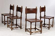 FOUR CHAIRS WITH LEATHER SEATS