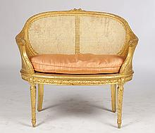 CARVED & GILTWOOD SETTEE LOUIS XVI STYLE C.1900