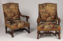 PR CONTINENTAL L. XIV CARVED NEEDLEPOINT ARM CHAIRS