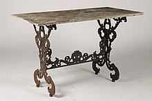 FRENCH CAST IRON GARDEN TABLE MARBLE TOP C.1870
