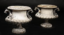 PAIR ALFRED CORNEAU FRENCH CAST IRON URNS