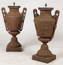 GOOD PAIR GREEK REVIVAL CAST IRON URNS C.1870