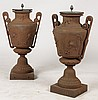 GOOD PAIR GREEK REVIVAL CAST IRON URNS C.1870
