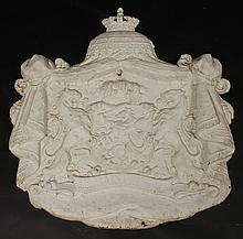 19TH CENT. ENGLISH CAST IRON COAT OF ARMS LIONS